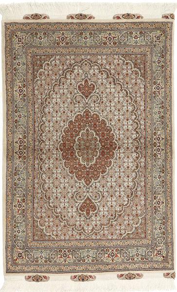 Tabriz 50 Raj Matta 100X150 Äkta Orientalisk Handknuten Ljusbrun/Beige (Ull/Silke, Persien/Iran)