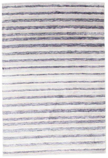 Bamboe Zijde Handloom Vloerkleed 160X235 Echt Modern Handgeknoopt Wit/Creme/Licht Paars/Beige ( India)
