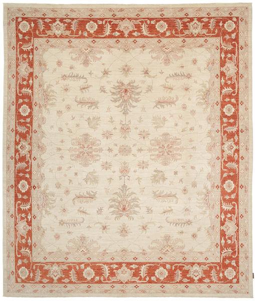 Ziegler Matto 294X345 Itämainen Käsinsolmittu Beige/Punainen Isot (Villa, Pakistan)