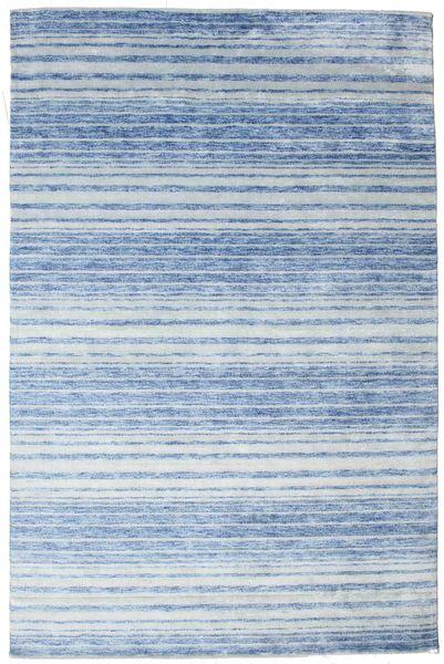 Bamboo Silk Handloom Rug 199X304 Authentic  Modern Handknotted Light Blue/Blue ( India)