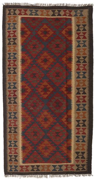 キリム マイマネ 絨毯 109X203 オリエンタル 手織り 深紅色の/濃い茶色 (ウール, アフガニスタン)