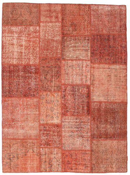 Patchwork Tapis 171X233 Moderne Fait Main Marron Clair/Rose Clair/Rouille/Rouge (Laine, Turquie)