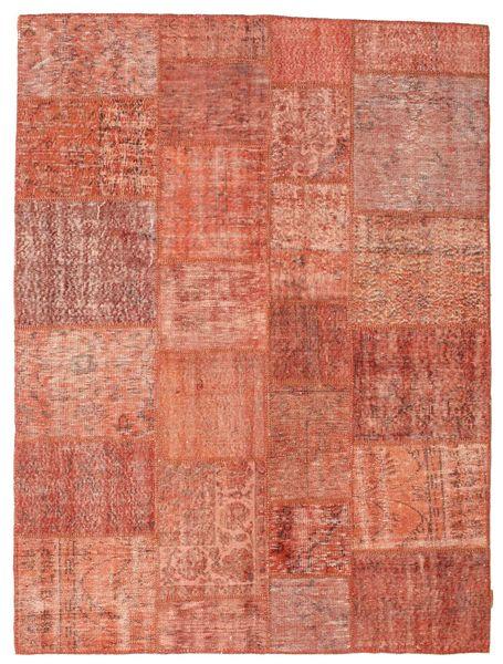 Patchwork Matto 172X231 Moderni Käsinsolmittu Vaaleanruskea/Vaaleanpunainen (Villa, Turkki)