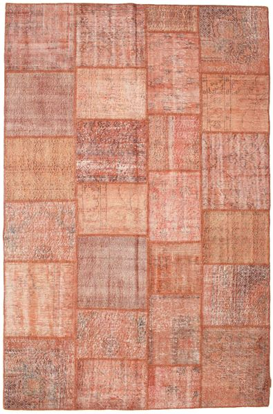 Patchwork Matto 198X301 Moderni Käsinsolmittu Vaaleanruskea/Vaaleanpunainen/Tummanpunainen (Villa, Turkki)