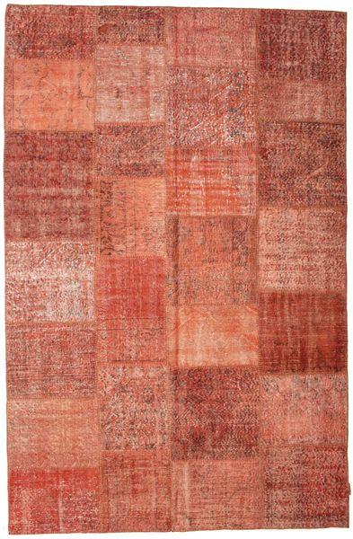 Patchwork Matto 196X302 Moderni Käsinsolmittu Ruoste/Vaaleanruskea/Vaaleanpunainen (Villa, Turkki)