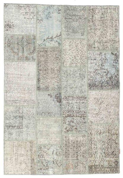Patchwork Tapis 137X202 Moderne Fait Main Gris Clair/Beige Foncé (Laine, Turquie)
