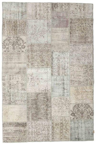 パッチワーク 絨毯 203X298 モダン 手織り 薄い灰色/暗めのベージュ色の (ウール, トルコ)