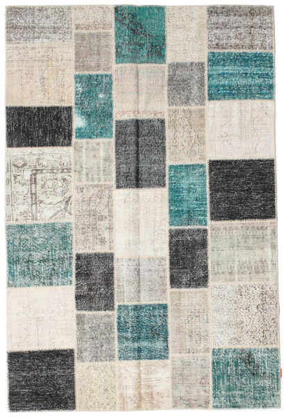 Patchwork Rug 202X300 Authentic  Modern Handknotted Light Grey/Dark Blue (Wool, Turkey)