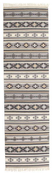Kilim Cizre Rug 80X300 Authentic  Modern Handwoven Hallway Runner  Dark Grey/Light Grey (Wool, India)