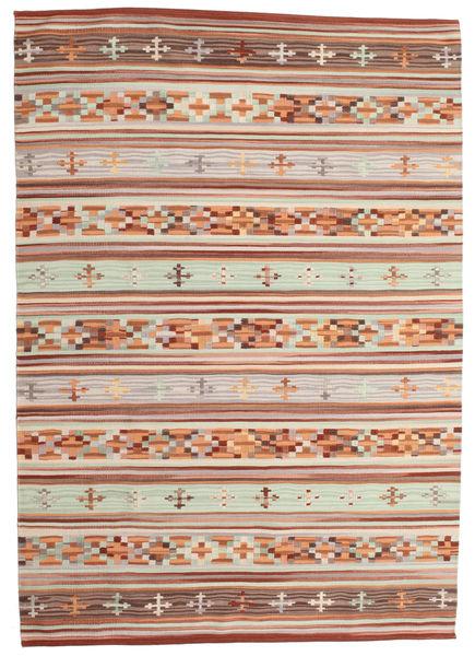 Kilim Anatolian Dywan 160X230 Nowoczesny Tkany Ręcznie Ciemnoczerwony/Jasnoszary (Wełna, Indie)