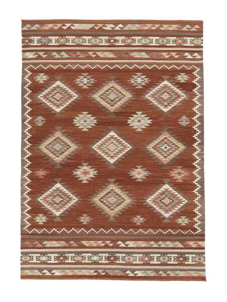 Kilim Malatya Tappeto 160X230 Moderno Tessuto A Mano Marrone Chiaro/Ruggine/Rosso (Lana, India)