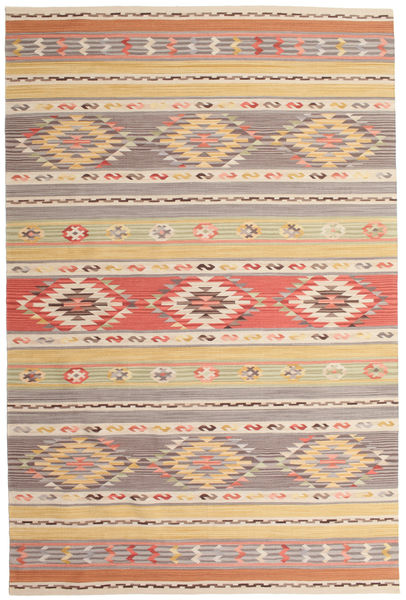 Kilim Nimrud Rug 190X290 Authentic  Modern Handwoven Light Brown/Light Grey (Wool, India)