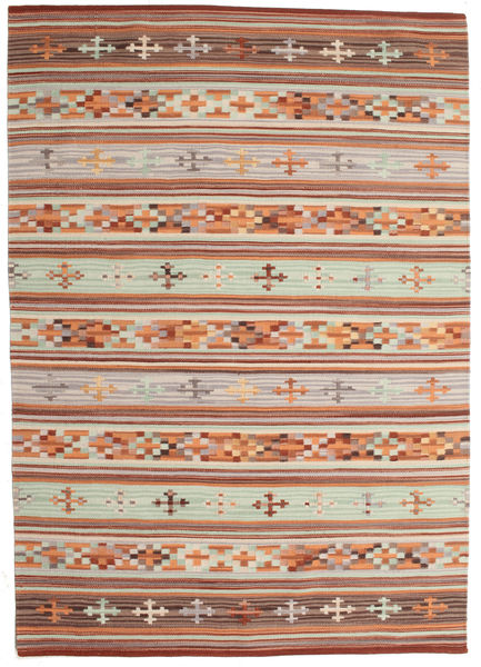 Kilim Anatolian Rug 140X200 Authentic  Modern Handwoven Light Brown/Light Grey (Wool, India)