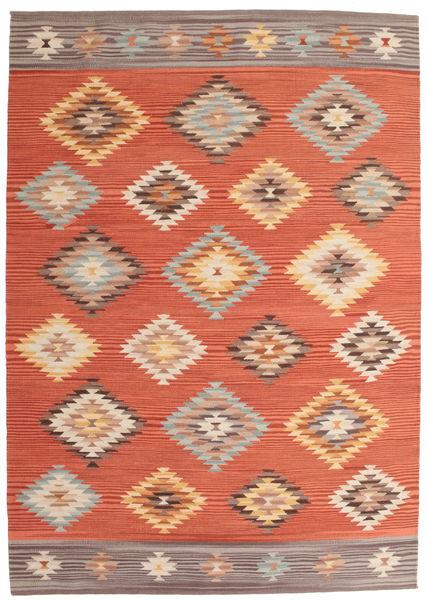 Kilim Denizli Dywan 160X230 Nowoczesny Tkany Ręcznie Pomarańczowy/Jasnobrązowy (Wełna, Indie)