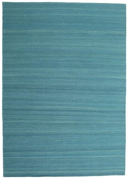 Kelim Loom - Petrolblau Teppich  160X230 Echter Moderner Handgewebter Blau/Türkisblau (Wolle, Indien)