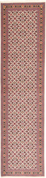 Tabriz 50 Raj Rug 75X295 Authentic  Oriental Handknotted Hallway Runner  Dark Red/Light Pink (Wool/Silk, Persia/Iran)