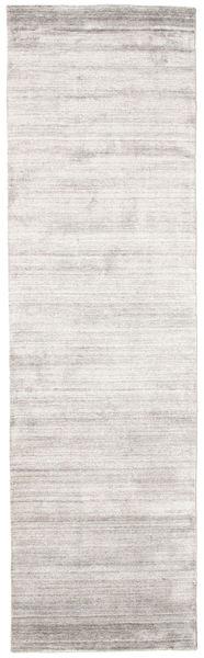 Bamboo Silkki Loom - Warm Harmaa Matto 80X300 Moderni Käytävämatto Valkoinen/Creme/Vaaleanharmaa ( Intia)