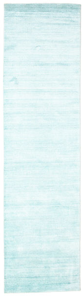 Bamboo Silk Loom - Light Blue Rug 80X300 Modern Hallway Runner  Beige/Turquoise Blue ( India)