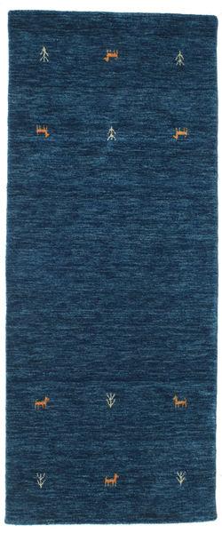 Gabbeh Loom Two Lines - Dark Blue Rug 80X200 Modern Hallway Runner  Dark Blue (Wool, India)
