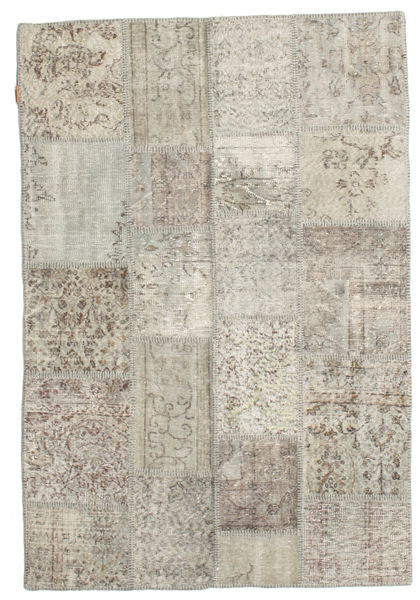 Patchwork Rug 136X200 Authentic  Modern Handknotted Light Grey/Light Brown (Wool, Turkey)
