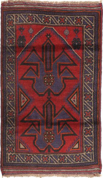 Beluch Matta 83X135 Äkta Orientalisk Handknuten Mörkbrun/Mörkröd (Ull, Afghanistan)