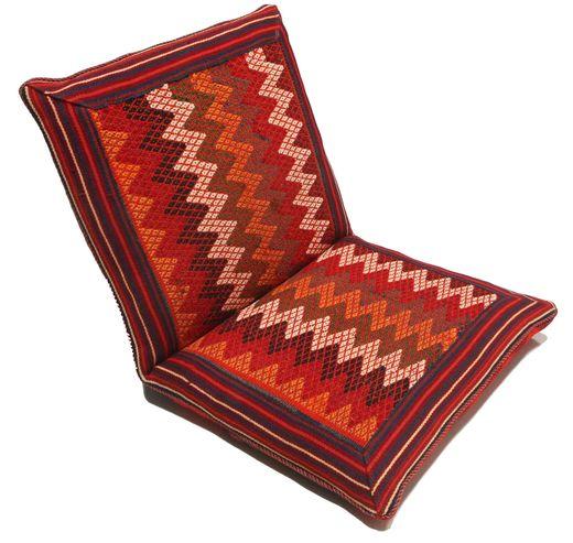 Kelim Sitting Cushion Matto 60X110 Itämainen Käsinkudottu Tummanpunainen/Ruoste (Villa, Persia/Iran)