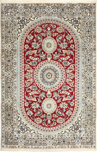 Nain 9La Teppe 194X304 Ekte Orientalsk Håndknyttet Beige/Lys Grå (Ull/Silke, Persia/Iran)