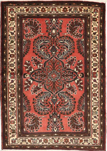 Mehraban Matta 100X140 Äkta Orientalisk Handknuten Mörkröd/Mörkbrun (Ull, Persien/Iran)