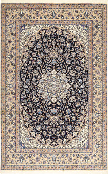 Nain 6La Habibian Teppe 210X323 Ekte Orientalsk Håndknyttet Lysbrun/Lys Grå (Ull/Silke, Persia/Iran)