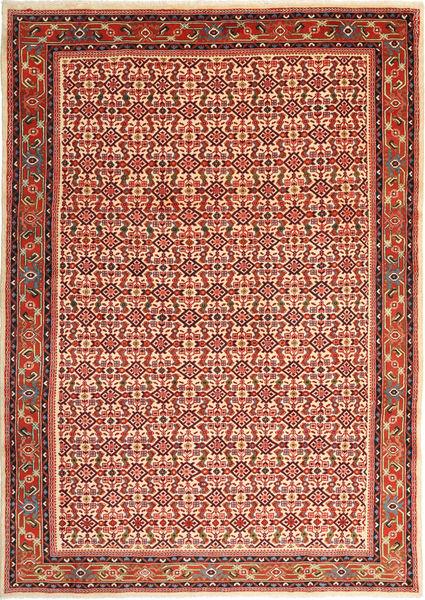 Hosseinabad Teppich  197X281 Echter Orientalischer Handgeknüpfter Dunkelrot/Rost/Rot (Wolle, Persien/Iran)