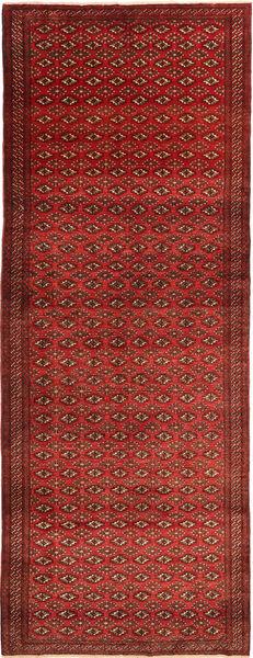 Turkaman Matta 150X400 Äkta Orientalisk Handknuten Hallmatta Mörkröd/Mörkbrun (Ull, Persien/Iran)