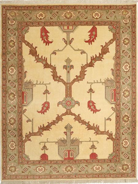Tabriz 40 Raj Rug 230X295 Authentic  Oriental Handknotted Light Brown/Brown/Dark Beige (Wool/Silk, Persia/Iran)