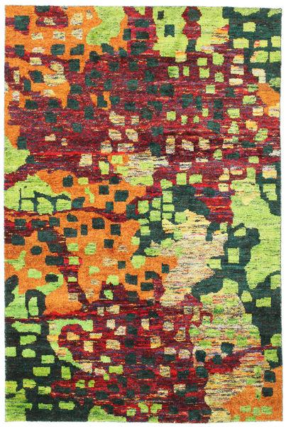 Davina Sari Silke Matta 190X290 Äkta Modern Handknuten Mörkgrå/Ljusgrön (Silke, Indien)