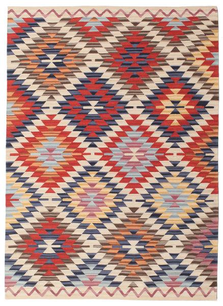 Kelim Usak Teppich  140X200 Echter Moderner Handgewebter Rost/Rot/Beige (Wolle, Indien)