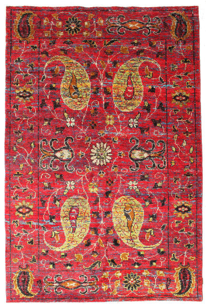 Vega Sari Silk Rug 200X300 Authentic  Modern Handknotted Crimson Red/Brown (Silk, India)