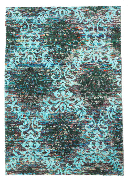 Kamala Rug 140X200 Authentic  Modern Handknotted Dark Turquoise  /Light Grey (Silk, India)