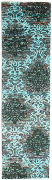 Kamala Matta 80X300 Äkta Modern Handknuten Hallmatta Mörkgrå/Turkosblå (Silke, Indien)
