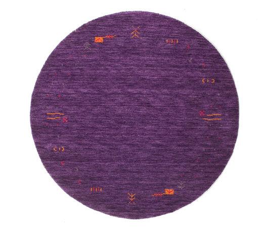 ギャッベ ルーム Frame - 紫 絨毯 Ø 150 モダン ラウンド 濃い紫/紫 (ウール, インド)