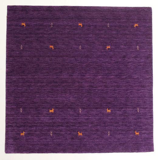 ギャッベ ルーム Two Lines - 紫 絨毯 200X200 モダン 正方形 濃い紫/紫 (ウール, インド)
