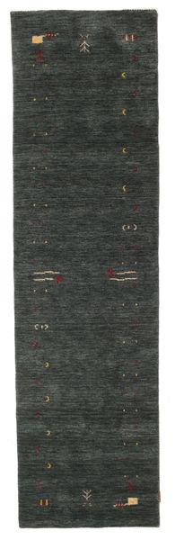 Gabbeh Loom Frame - Dark Grey/Green Rug 80X300 Modern Hallway Runner  Dark Green (Wool, India)