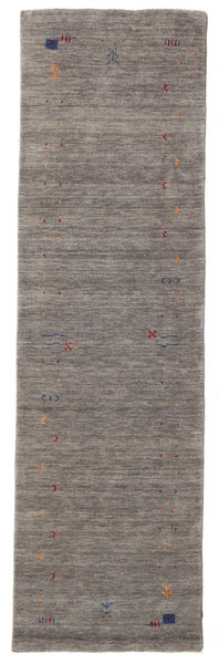 Gabbeh Loom Frame - Grey Rug 80X300 Modern Hallway Runner  Dark Grey/Light Grey (Wool, India)