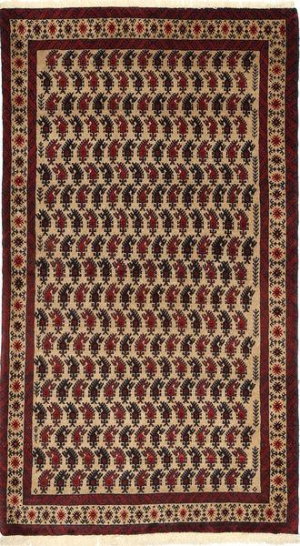 Beluch Matto 105X187 Itämainen Käsinsolmittu Tummanpunainen/Vaaleanruskea (Villa, Persia/Iran)