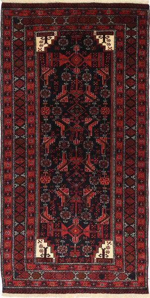 Beluch Matto 100X195 Itämainen Käsinsolmittu Tummanruskea/Tummanpunainen (Villa, Persia/Iran)