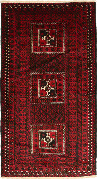 Baluch Rug 113X207 Authentic  Oriental Handknotted Dark Red/Crimson Red (Wool, Persia/Iran)
