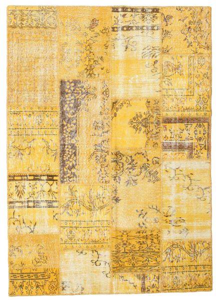 Patchwork Matto 162X227 Moderni Käsinsolmittu Keltainen/Vaaleanruskea (Villa, Turkki)