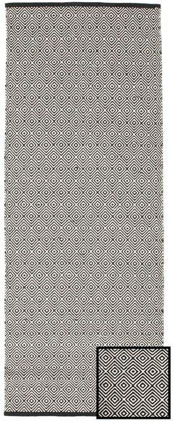 Diamond - Black Rug 80X250 Authentic  Modern Handwoven Hallway Runner  Light Grey/Dark Grey (Cotton, India)