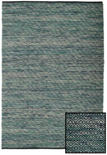 Hugo - Petrol Rug 140X200 Authentic  Modern Handwoven Light Grey/Dark Turquoise   ( India)