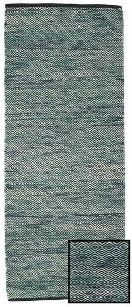 Hugo - Petrol Rug 80X300 Authentic  Modern Handwoven Hallway Runner  Dark Turquoise  /Light Grey ( India)