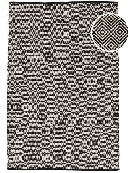 Diamond - Black Rug 140X200 Authentic  Modern Handwoven Dark Grey/Beige/Light Grey (Cotton, India)