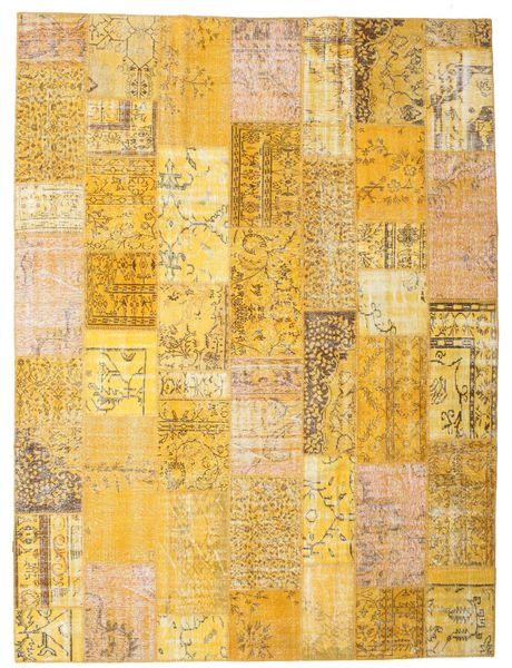 Patchwork Matto 273X366 Moderni Käsinsolmittu Vaaleanruskea/Keltainen Isot (Villa, Turkki)